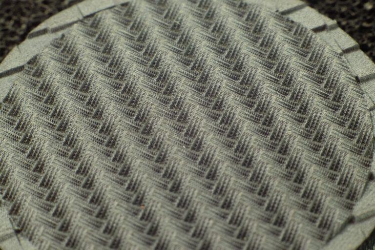 Close-up of laser-textured zirconia